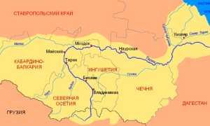 Где находится река Терек (на карте, координаты)