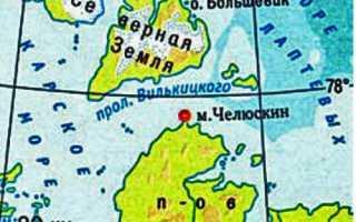 Географические координаты Мыса Челюскин (широта и долгота)