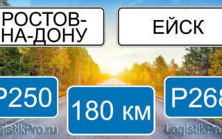 Сколько км от Ростова-на-Дону до Ейска? (на машине)